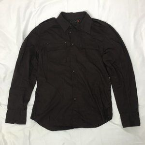 G by Guess Button Down Long Sleeve Shirt Brown M